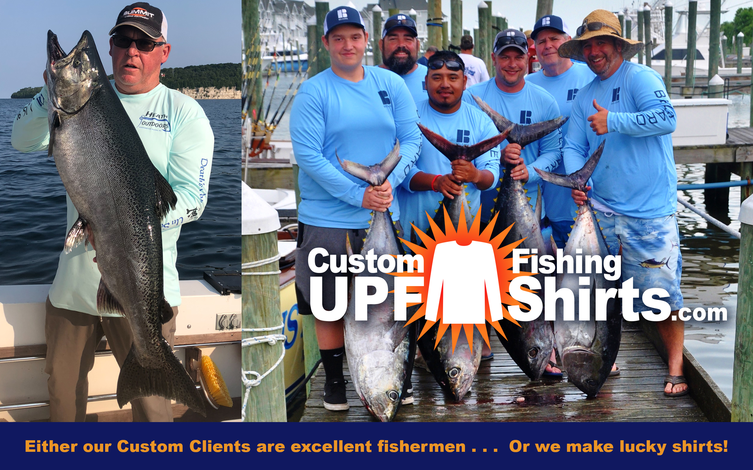 Custom-upf-fishing-shirts- Our Clients must be great fishermen - or we make lucky shirts!